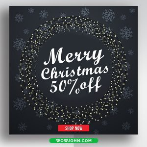 Happy Christmas Sale Discount Banner Psd Template