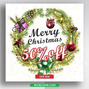Winter Christmas Sale Discount Banner Psd Template