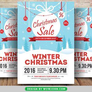 Winter Christmas Sale Psd Flyer Template