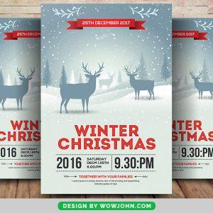 Minimal Winter Christmas Psd Flyer Template
