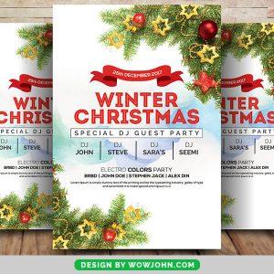 Winter Flower Christmas Psd Flyer Template