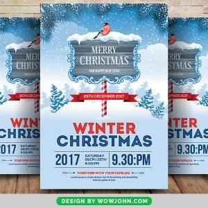 Winter Merry Christmas Psd Flyer Template