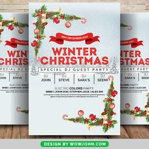 Red Christmas Party Poster Flyer Free Vector
