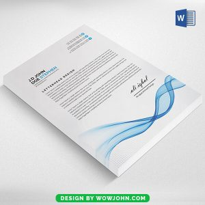 Free Letterhead Template Word with Blue Wave