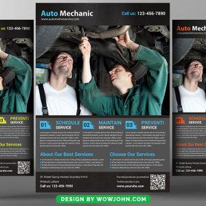 Auto Car Mechanic Psd Flyer Design Template