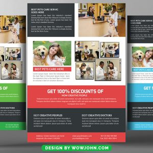 Pets Care Clinic Hospital Psd Flyer Template