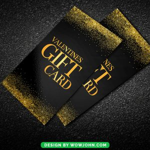 Free Gold Valentines Day Gift Card Psd Template