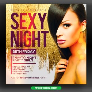 Golden Night Club Party Flyer Template Psd
