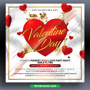 Red Valentines Day Party Flyer Template Psd