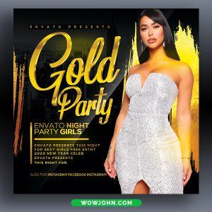 Free Golden Night Club Flyer Template Psd