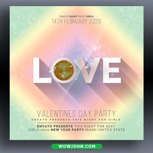 Valentines Day Party Flyer Template Psd Design