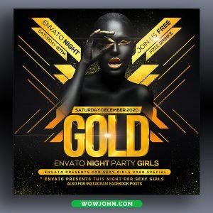 Gold Night Club Flyer Template Psd Design