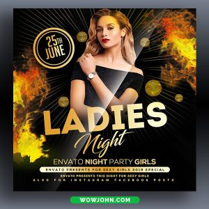 Ladies Nightclub Gold Party Flyer Psd Template