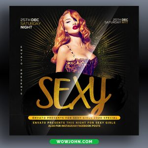 Sexy Gold Black Party Psd Flyer Template