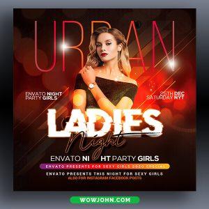 Urban Ladies Nightclub Party Psd Flyer Template