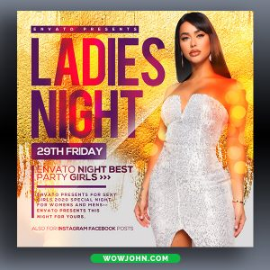 Gold Ladies Night Party Flyer Psd Template