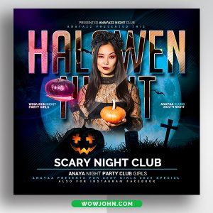 Halloween Night Party Flyer Template Psd