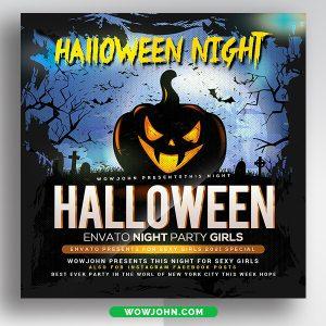 Halloween Scary Night Flyer Template Psd