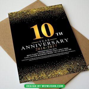 10th Anniversary Invitation Card Psd Template