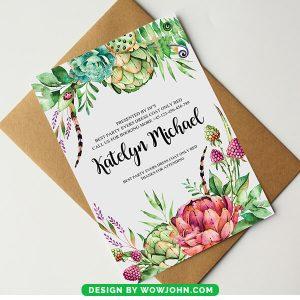Wedding Flowers Invitation Card Psd Template