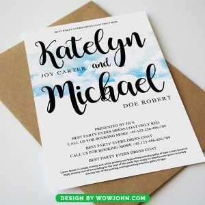 Watercolor Wedding Invitation Card Psd Template