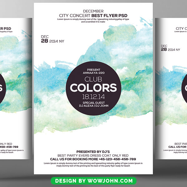 Club Colors Party Psd Flyer Template