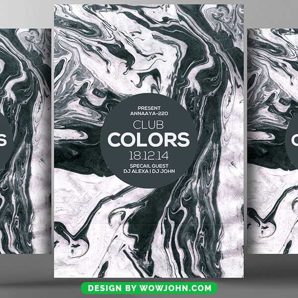 Club Grunge Colors Party Psd Flyer Template