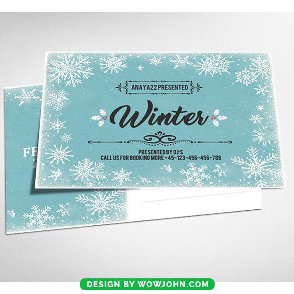 Winter Chrismtas Card Psd Template Download