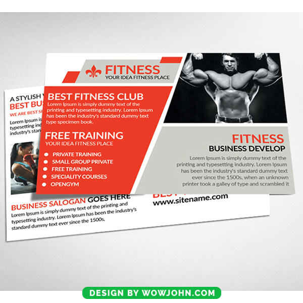 Fitness Gym Postcard Psd Template Download