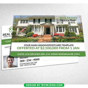 House For Sale Real Estate Postcard Psd Temlate