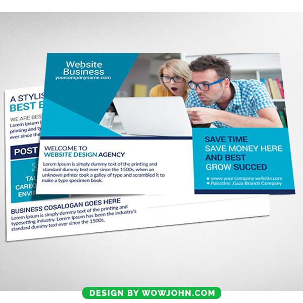 Web Design Service Provider Postcard Psd Template